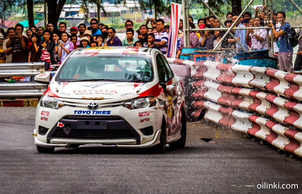 Toyota racing in Phuket, hitting water barriers