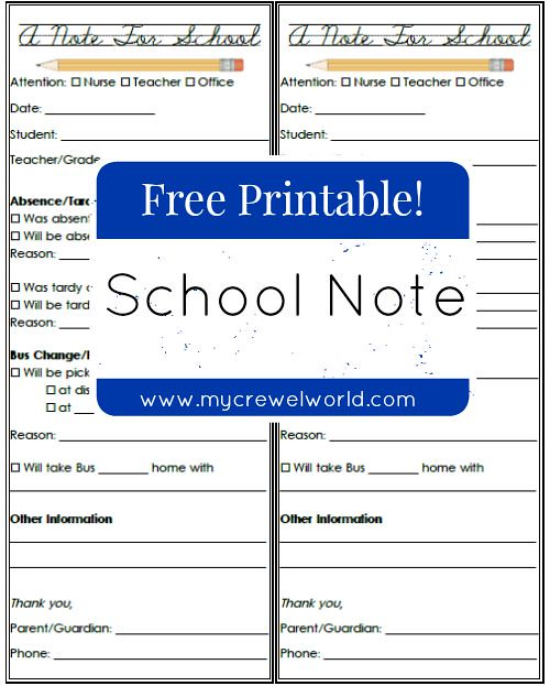 Free Printable - School Notes