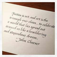 The #quote of the week on @reddit - a nice thought. #calligraphy #quotation #JohnCheever #fiction #art #chaos
