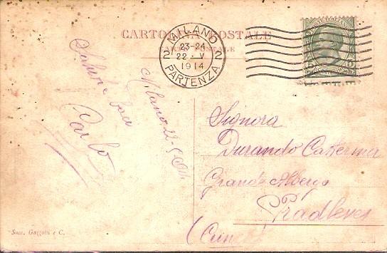 Cartolina inviata da Carlo alla moglie Caterina, alla partenza del Giro d'Italia 1914 da Milano