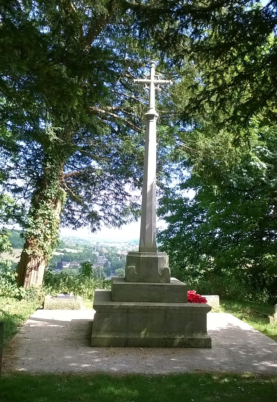 War memorial on hill by St Lawrence church