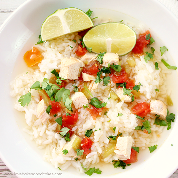 Simple Southwest Chicken & Rice Soup in a white bowl with a lime.