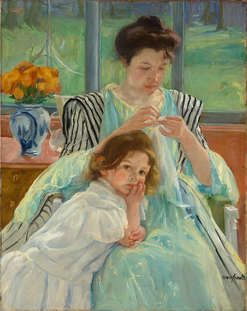 Young Mother Sewing by Mary Cassatt, 1900