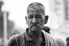 Old Age Worker - Black white portrait