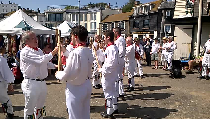 Morris men (video 58 secs) performance, seafront Broadstairs folk festival