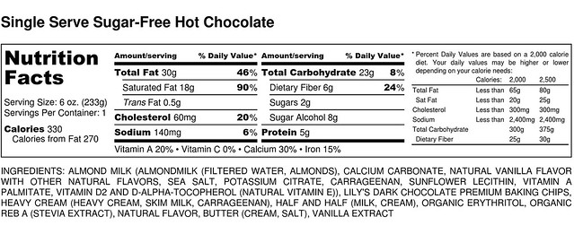 Single Serve Sugar-Free Hot Chocolate - Nutrition Label