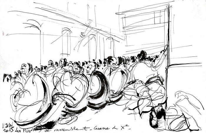 Rassemblement des Migrants. Occupation de la caserne. Migrants de la Chapelle et d'Austerlitz. Paris, 11 juin 2015 © Laura Genz