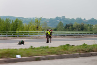 Soldiers patrolling along the highway.