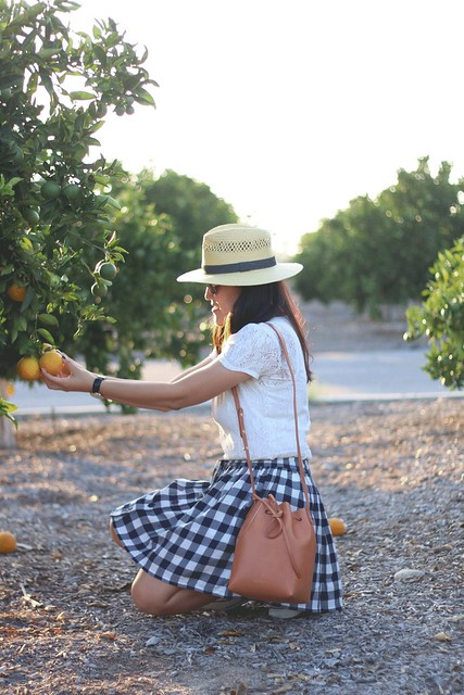 simplyxclassic, mansur gavriel, gingham, checkered skirt, gingham skirt, lace shirt, forever21 hat, panama hat, converse, summer, orange county, fashion blogger, mommy style, mom blog, #fashionblogger, #ootd, #gingham