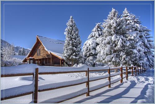 winter snow pinevalley utah landscape trees fence hdr nikon d750 house