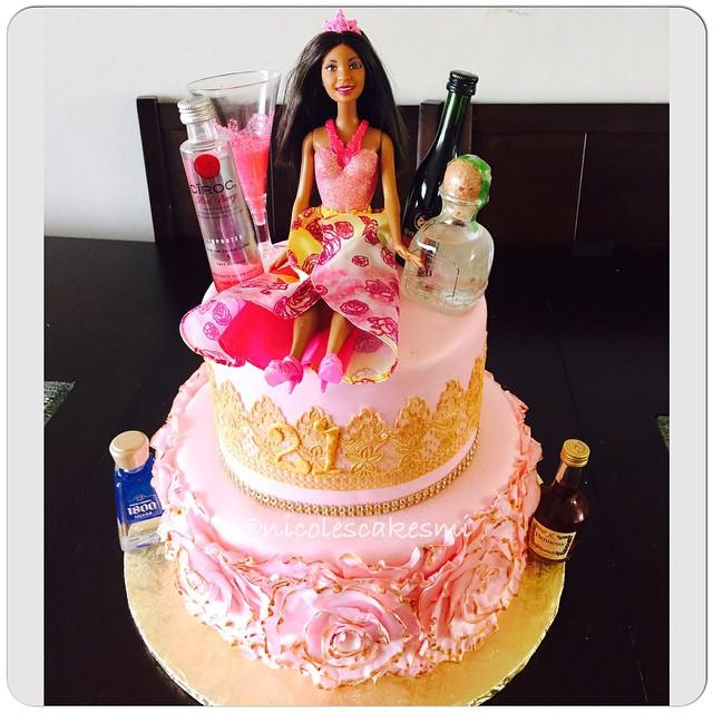 21st Birthday Cake And Barbie Before The Turn Up Fondant Ruffle