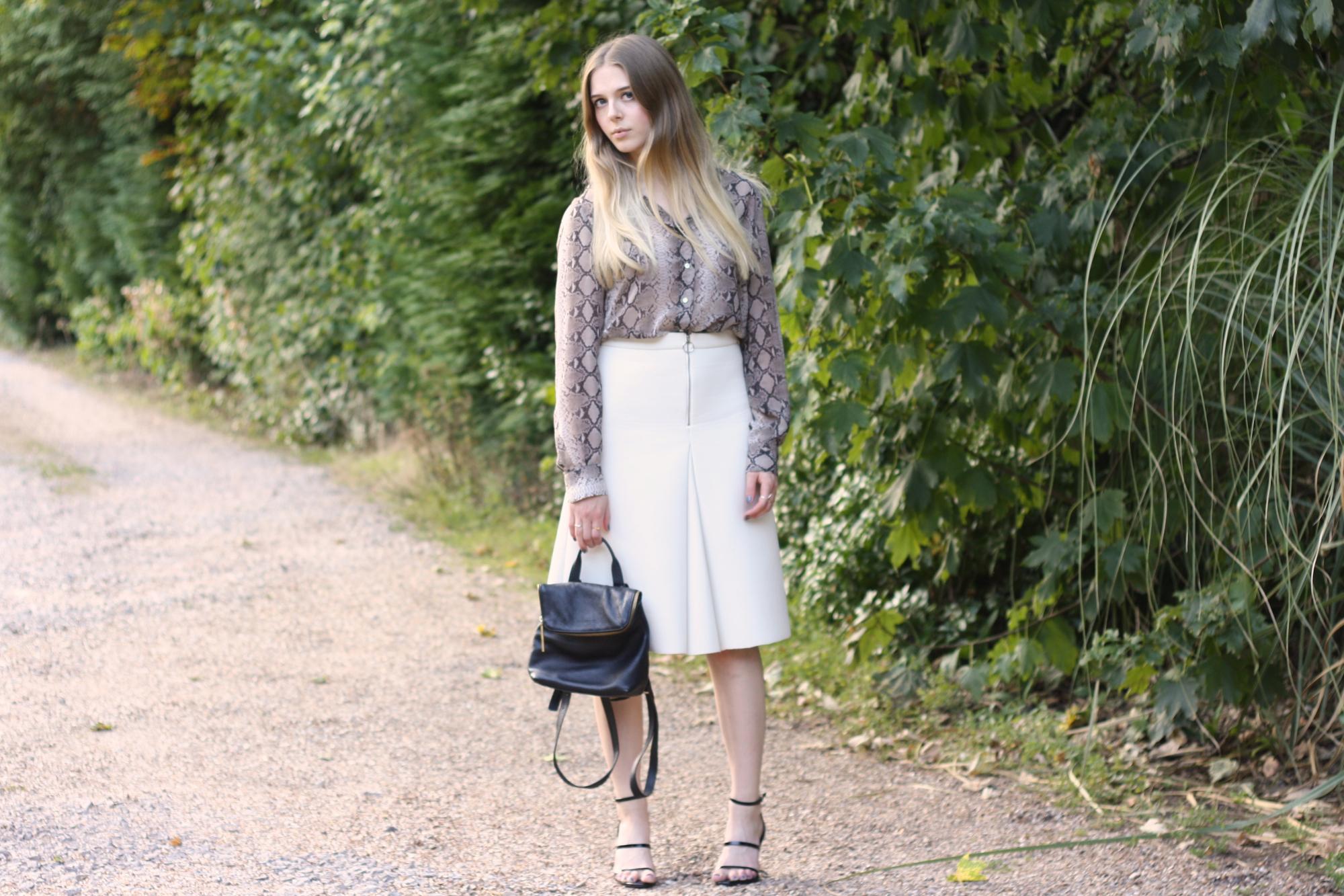 Topshop white scuba zip skirt