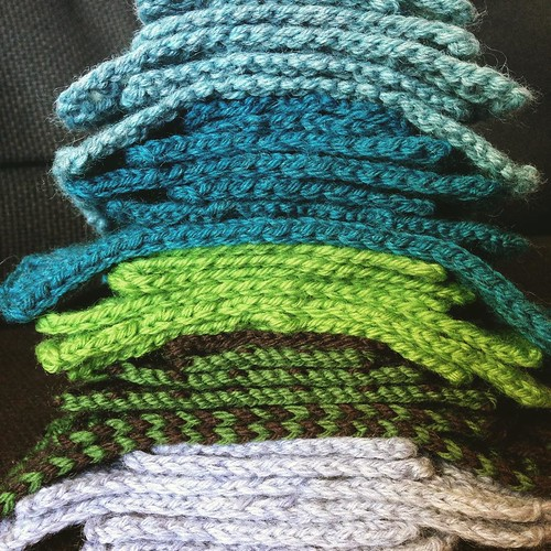 These are all my color coded swatches for the new Adventure Knitting collection - 31 stitch patterns! I just posted the big reveal blog post with all the patterns and details! (Blog at leethal.net)