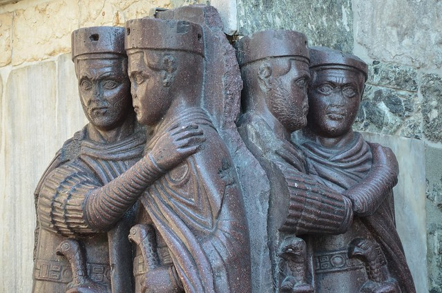 Portrait of the Four Tetrarchs, a porphyry sculpture sacked from the Byzantine Philadelphion palace in 1204, Treasury of St. Marks, Venice