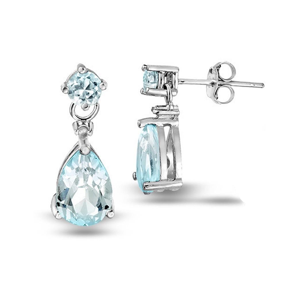 925 sterling silver blue topaz teardrop earrings ebay. Black Bedroom Furniture Sets. Home Design Ideas