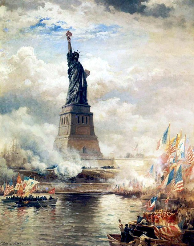 Unveiling of the Statue of Liberty Enlightening the World, by Edward Moran