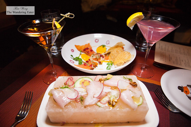 Our cocktails, Hamachi crudo and Pastrami salmon