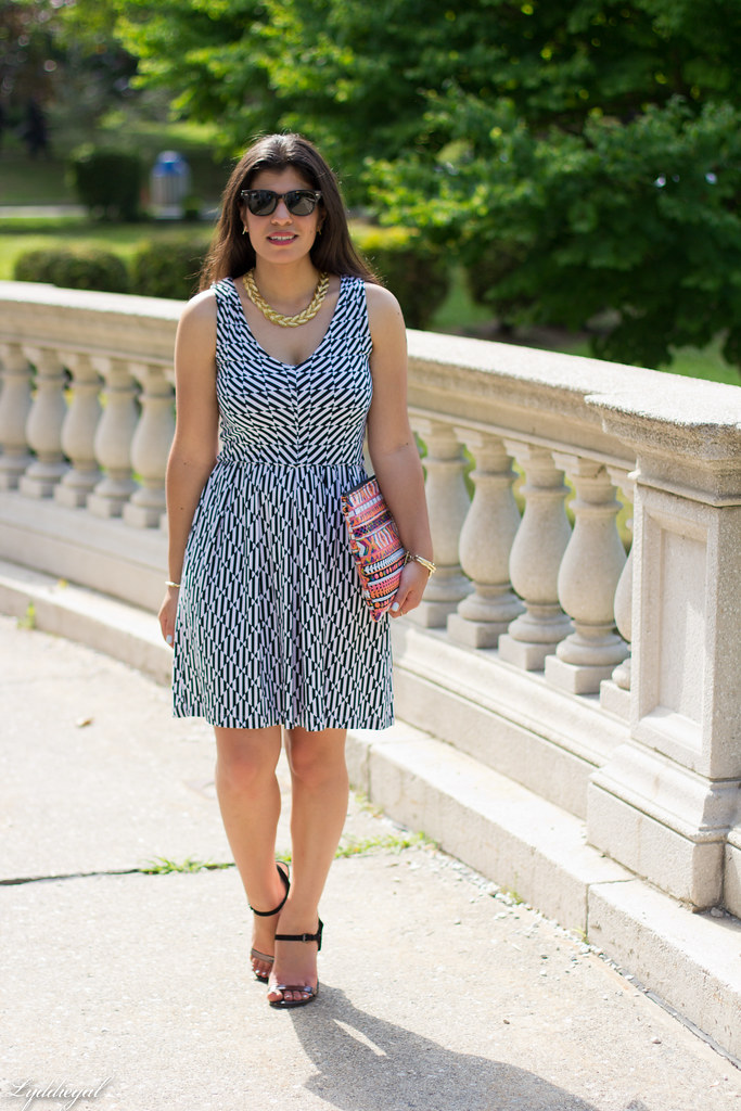 black and white geo print dress, aztec clutch-6.jpg