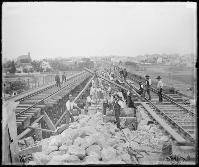 Railway bridge near Petersham, Battle Bridge Creek - men at work