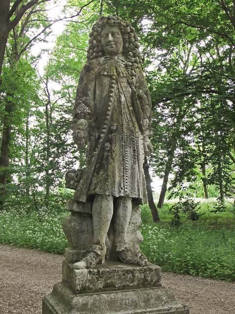 Worn Statue in the Garden at Kasteel de Haar near Utrecht, Holland