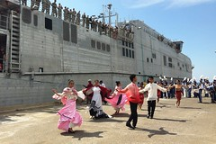 Traditional Filipino dancers perform as USNS Millinocket (JHSV 3) arrives in San Fernando City, Aug. 4.  (U.S. Navy/Lt. j.g. Jacqui Maxwell)