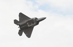 lockheed martin f-35 lightning ii(0.0), lockheed martin f-22 raptor(1.0), aviation(1.0), airplane(1.0), wing(1.0), vehicle(1.0), fighter aircraft(1.0), jet aircraft(1.0), flight(1.0), aircraft engine(1.0), air force(1.0),