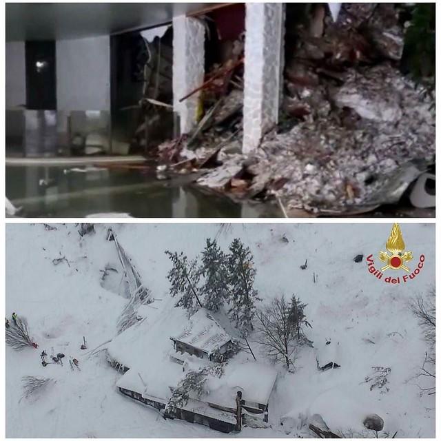 #شبكة_أجواء : #إيطاليا : 30 شخصا في عداد المفقودين بعد انهيار جليدي هائل يضرب فندق Rigopiano في بلدة فاريندولا الأربعاء ليلا 18-1-2017 ويعتقد أن واحدا من الزلازل التي حدثت امس تسبب في الانهيار الجليدي.