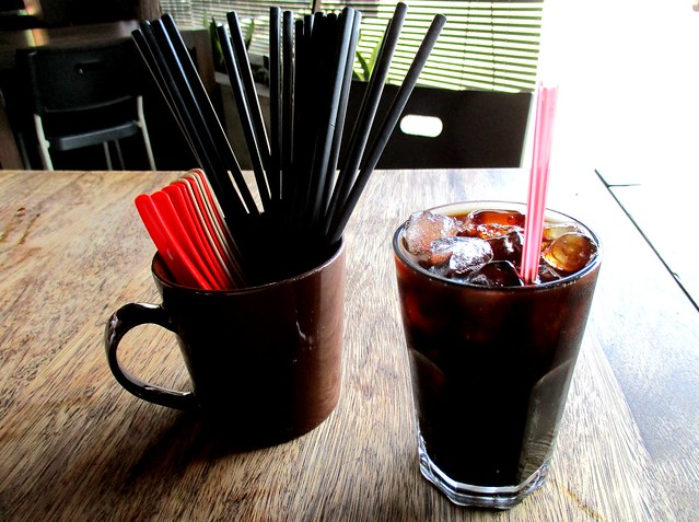 101 Iced black coffee and utensils for use