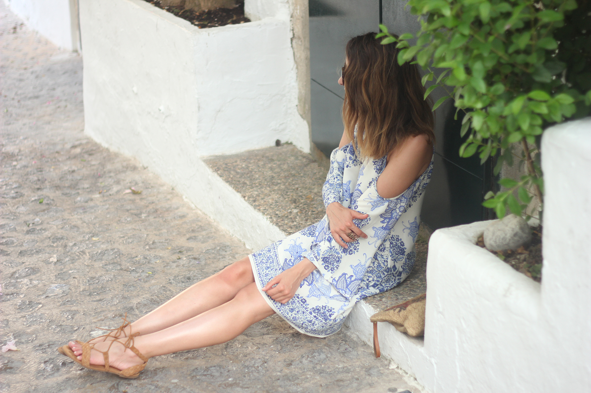 Summer White And Blue Dress Ibiza19