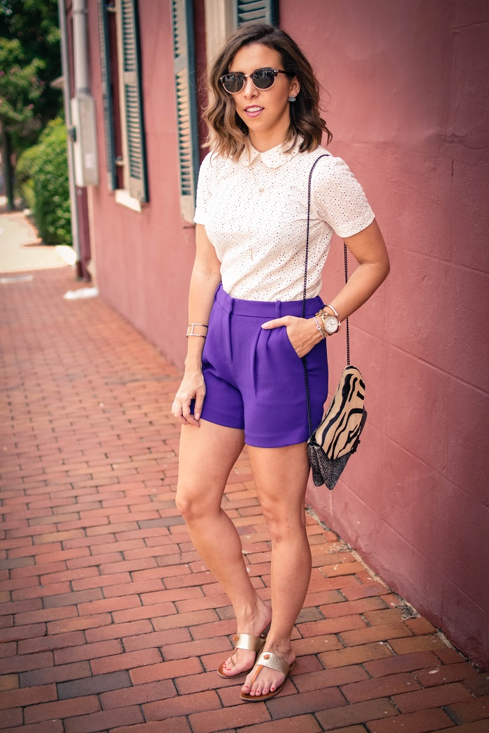 aviza style. andrea viza. fashion blogger. dc blogger. midi shorts. eyelet top. eyelet peter pan collar. joie flip flops. preppy summer style.