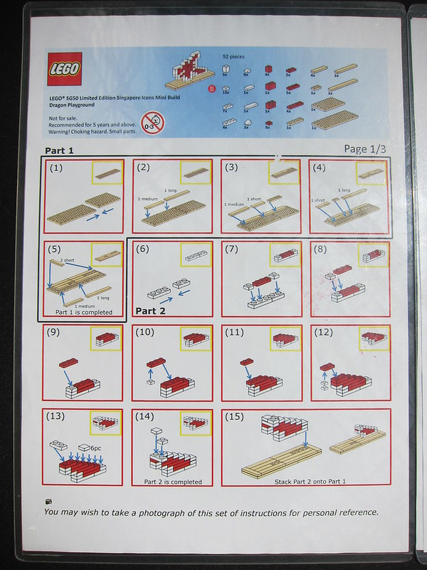 LEGO SG50 Limited Edition Singapore Icons Mini Build - Dragon Playground - Instructions - 1 of 3