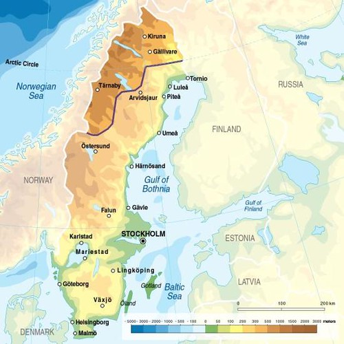 Sweden topographic map  GRIDArendal