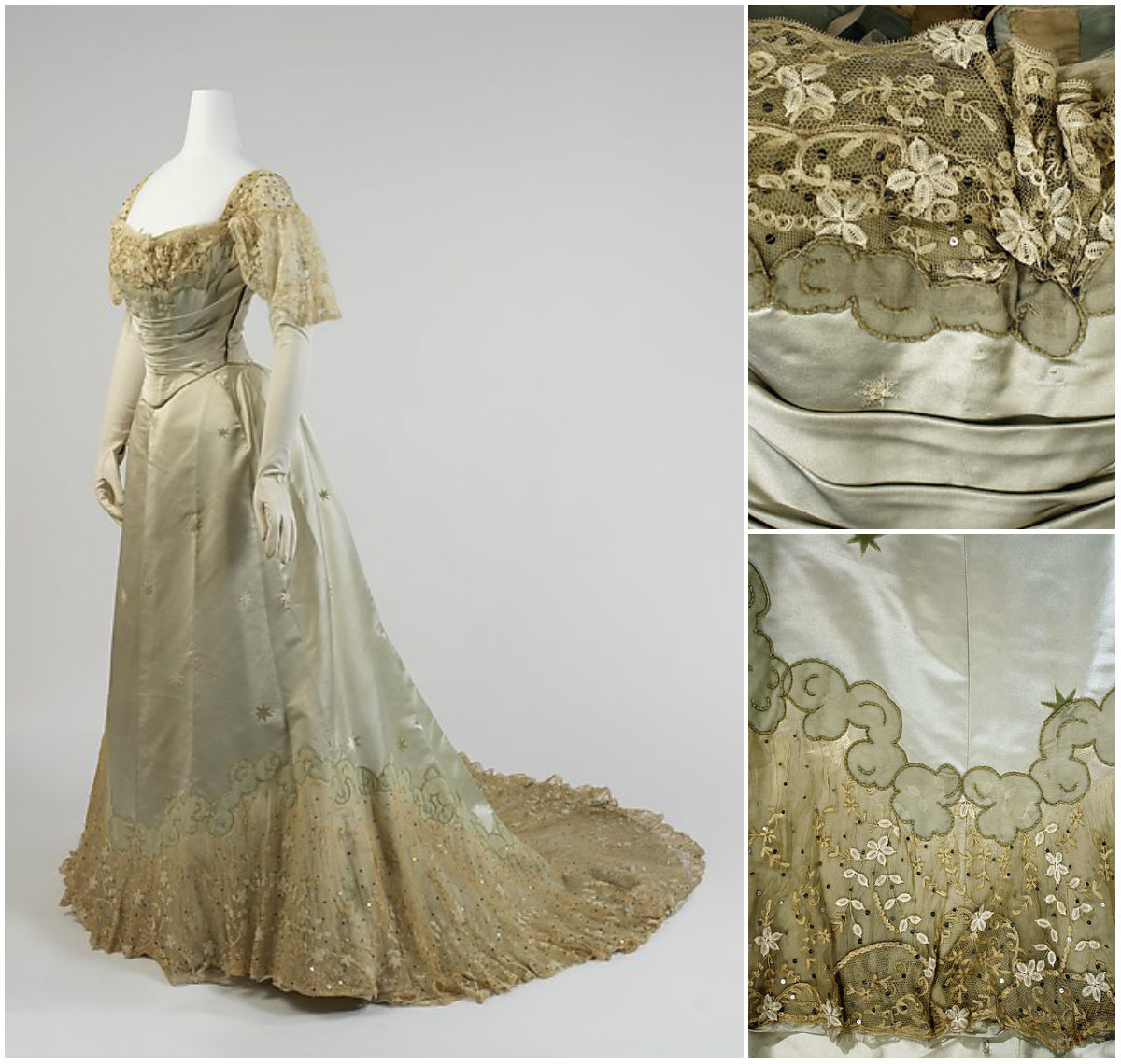 1898. Evening Dress. Silk, cotton, metal. metmuseum