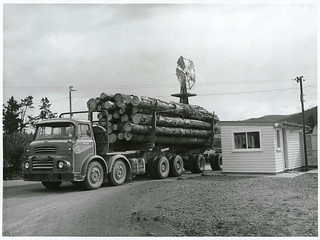 A timber truck being weighed at the weighing station at Golden Downs