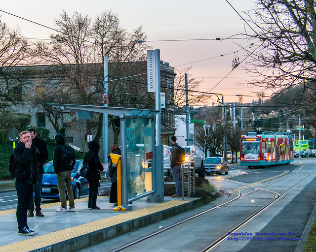 Waiting For First Hill Streetcar in Seattle Dawn
