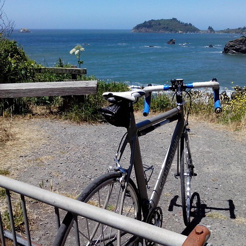 #Humboldt #cycling #Trinidad #ocean #bench #cannondale