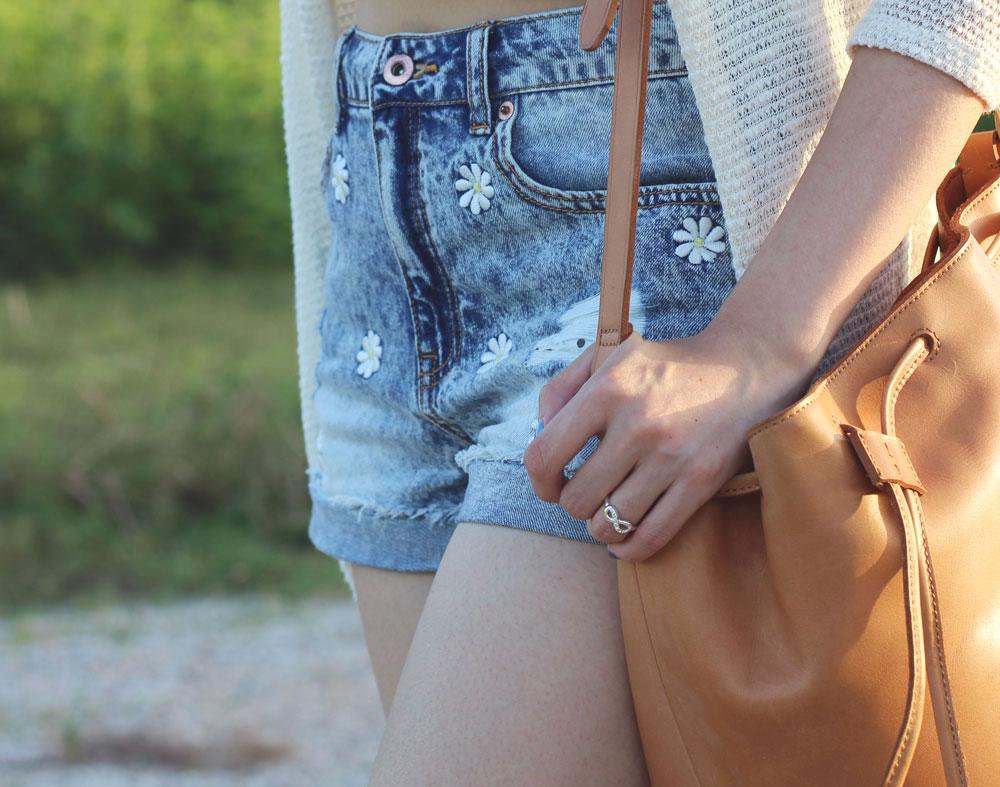 Daisy patch shorts