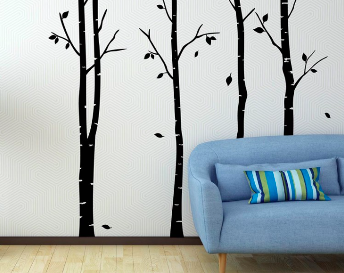 Birch tree wallpaper wall covering decal sticker