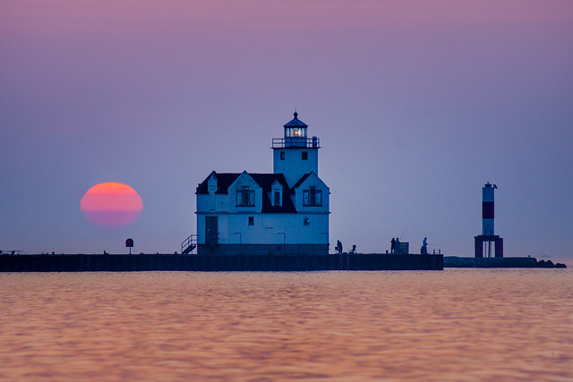 Sunrise, Blue, Lighthouse, Kewaunee, WI, Lake Michigan