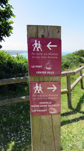 A sign showing some of the walks from Cap Fagnet on the Normandy Coast of France