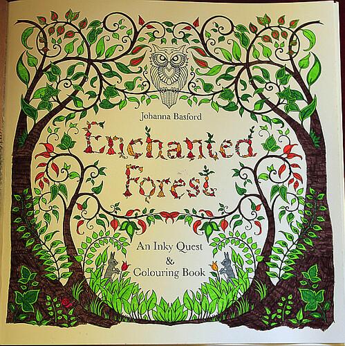 Enchanted Forest -kirjan nimiölehti minun värittämänä.