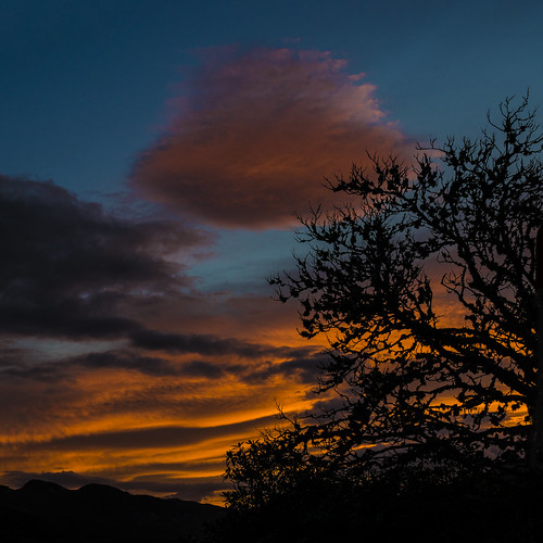 dawn sunrise sunup east sky clouds silhouettes shadows rhidorroch ullapool westerross rosshire highlands scotland tree mountains