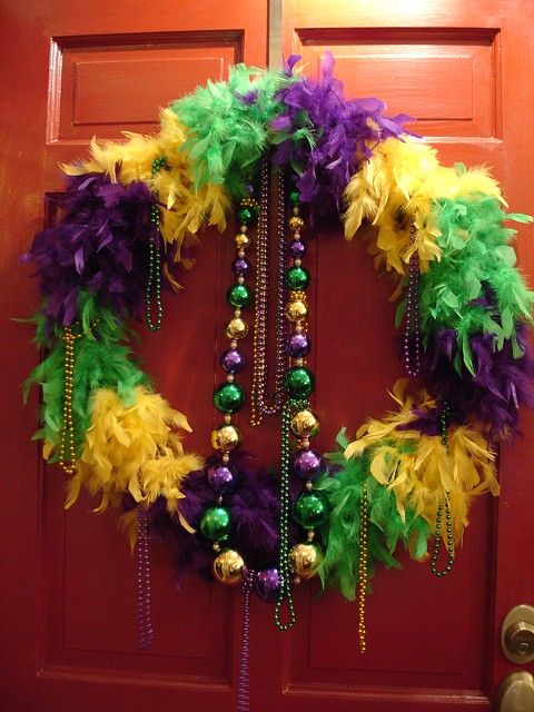 Mardi Gras Feather Wreath