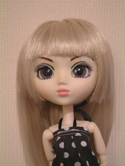 nose, hime cut, face, hairstyle, clothing, head, hair, long hair, blond, wig, pink, doll, eye, toy,