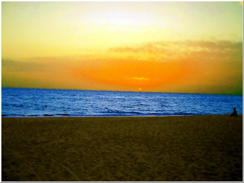 ocean africa travel blue orange france art beach water yellow manipulated sunrise canon landscape 350d sand atlantic senegal saly allrightsreservedchristinelebrasseur landscapeseascapeskyscapeorcityscape