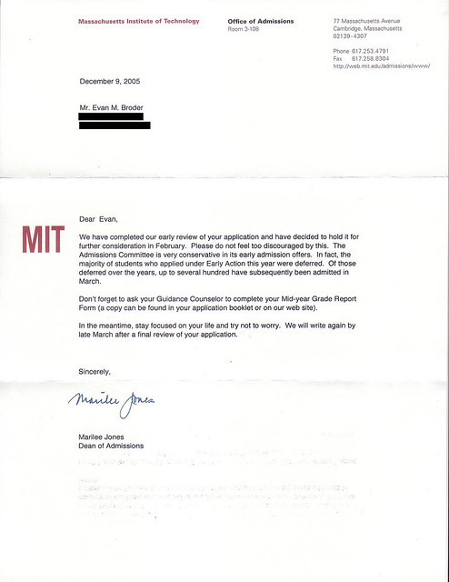 deferral letter for university
