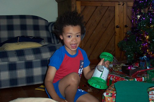 Jules loving his bug catcher in his stocking