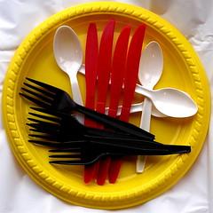 dishware(1.0), fork(1.0), yellow(1.0), cutlery(1.0),