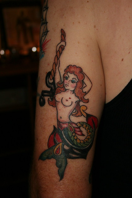 Mermaid with Anchor Tattoo