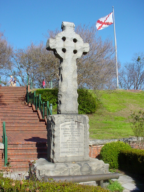 celtic cross with flag